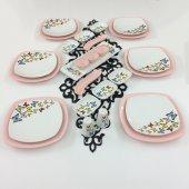 Keramika 26 Parça 6 Kişilik Açık Pembe Kelebek Kahvaltı Takımı