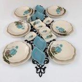 Keramika Turkuaz Gül 23 Parça 6 Kişilik Kahvaltı Takımı