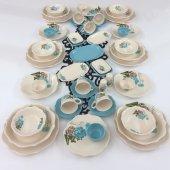 Keramika Turkuaz Gül 51 Parça 6 Kişilik Yemek Takımı
