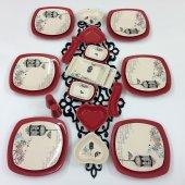 Keramika Retro Kırmızı 6 Kişilik 26 Parça...