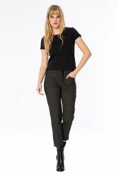 Kantabria Yakası Trikolu Siyah Basic Bluz 160096 1