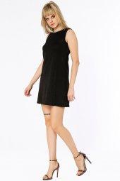 Cuenca Yakası Taş Detaylı Siyah Elbise 160100 1