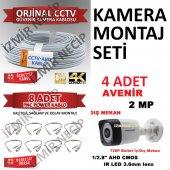 Avenir Kamera 4 Adet 100mt Kablo 8 Adet Hazır Bnc ...