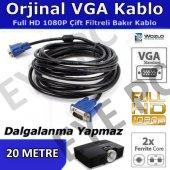 20 Mt Vga To Vga 15 Pin Kablo Görüntü Aktarım...