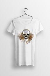 Skull Art Baskılı Yırtmaçlı Oversize Kadın Tshirt