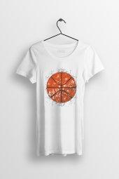 Basketball Baskılı Yırtmaçlı Oversize Kadın Tshirt