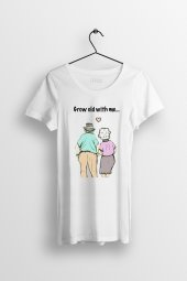 Grow Old With Me Baskılı Yırtmaçlı Oversize Kadın Tshirt