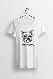 Be Positive Baskılı Yırtmaçlı Oversize Kadın Tshirt