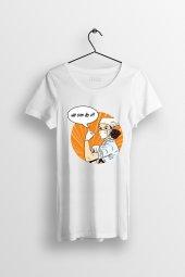 We Can Do It Baskılı Yırtmaçlı Oversize Kadın Tshirt