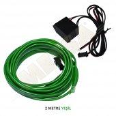 Araç İçi Torpido Ledi Renkli İp Neon İp Led El Wire Yeşil 2 Mt