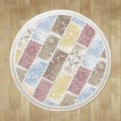 Karışık Renk Pembe, Mavi, Sarı Patchwork Yuvarlak Halı - HS9310YC