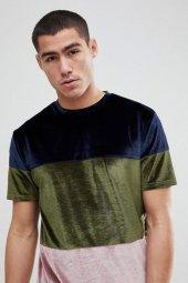 Asos 3 Renkli Tasarım Kadife Tişört