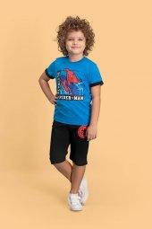 Spider Man Lisanslı Mavi Erkek Çocuk Kapri Takım D4144 C V1