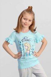 Karlar Ülkesi Elsa Frozen Lisanslı Mavi Kız Çocuk T Shirt Td 116 C V3