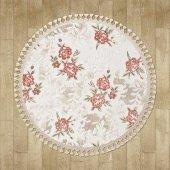 Çiçek Desenli Pudra, Vizon Yuvarlak Halı - HS95008YC