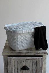 örgü Desenli Beyaz Rengi 2li Kapaklı Çamaşır Sepeti