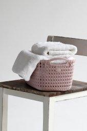 örgü Desenli Toz Pembesi Rengi 2 Li Plastik Eko Çamaşır Sepeti
