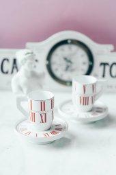 Kırmızı 2li Alice İn Wonderland Kahve Takımı