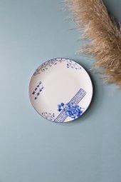 Mavi Çiçekli Çini Yazılı Seramik Tatlı Ve Kahvaltı Tabağı 4 Adet