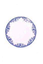 Mavi Beyaz Kenar Çiçekli Seramik Tatlı Ve Kahvaltı Tabağı 4 Adet
