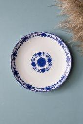 Mavi Çiçekli Yuvarlak Seramik Tatlı Ve Kahvaltı Tabağı 4 Adet