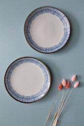 Mavi Çizgili Modern Yemek Tabağı 4 Adet