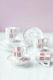Kırmızı 6lı Alice İn Wonderland Kahve Takımı