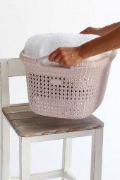 Örgü desenli Toz Pembesi rengi plastik çamaşır sepeti 35 LT-3