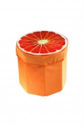 Portakal Desenli Portatif Oturak Ve Çok Amaçlı Saklama Kutusu