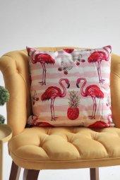 Dekoratif Flamingo Baskılı Yastık, İçi Elyaf Dolgu Ve Çıkabilen