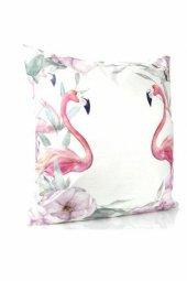 Dekoratif Flamingo Baskılı Yastık, İçi Elyaf...