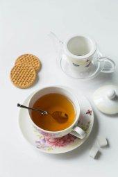 Sarı güllü, kelebekli Cam ve seramik 5 parça çaydanlık takımı-2