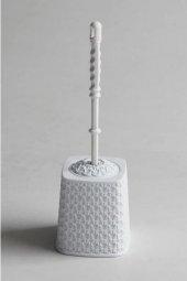 örgü Desenli Beyaz Rengi Plastik Klozet Fırçası