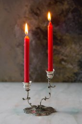 Dekoratif Orta Boy Kırmızı 4lü Mum Seti