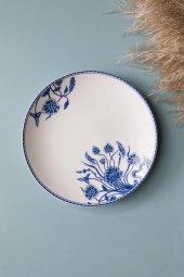 Mavi Beyaz Çiçek Figürlü Seramik Tatlı Ve Kahvaltı Tabağı 4 Adet