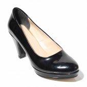 KADIN 10mmPlatform Ortapedik Rahat Şık Siyah Rugan Ayakkabı-2