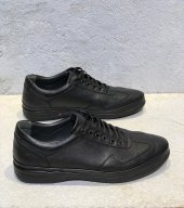 Yeni Sezon Kauçuk Taban Orijinal Hakiki Deri Günlük Rahat Bağcıklı Spor Ayakkabı Kale01 Siyah