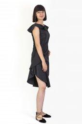 volan yakalı elbise-6