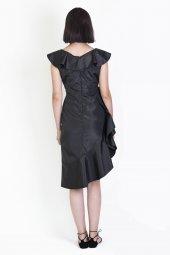 volan yakalı elbise-7