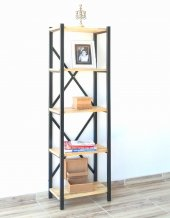 Metal Ahşap Kitaplık Seti Ofis Büro Raf K090