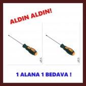 3x100 Mika Yıldız Tornavida Kauçuk Sap 1 Alana...