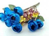 çiçek El Buketi Şakayık Kadife Mavi 1 Buket