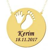Yeni Doğan Bebek El Ayak İzi İsim Yazılı Gümüş Kolye Wsn204