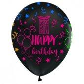 Balon Çepeçevre Floresan Siyah Happy Bırtday...