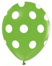 Balon Çepeçevre Beyaz Puantiyeli Açık Yeşil 100...