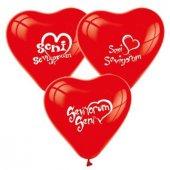 Balon 1+1 Seni Seviyorum Kalp Kırmızı 100 Adet