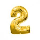 Folyo Balon Rakam 2 Altın 16 Inc(40cm) 1 Adet