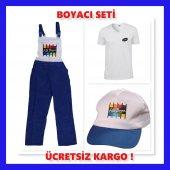 Boyacı Seti M Beden (48 50) Tulum Tişört Şapka Bir...