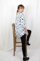 Pamuklu Yaprak Desenli Turuncu Gömlek XSG3124-3