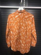 Pamuklu Yaprak Desenli Turuncu Gömlek XSG3124-7